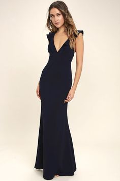 Lulus Exclusive! Weddings, parties, and galas are all good excuses to debut the Perfect Opportunity Navy Blue Maxi Dress! Stretch knit forms fluttering sleeves, a V-neck, seamed bodice, and set in waist. Figure-flaunting maxi skirt with mermaid hem. Hidden back zipper/clasp.