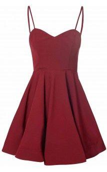 Burgundy Full Skirt Dress