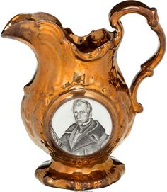 Lot: 43127: William Henry Harrison: Copper Luster Pitcher. 5, Lot Number: 43127, Starting Bid: $1,250, Auctioneer: Heritage Auctions, Auction: May 13 Americana & Political - Dallas #6172, Date: May 13th, 2017 EDT