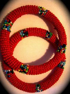 Bright Maasai Beaded Bracelet set of 2
