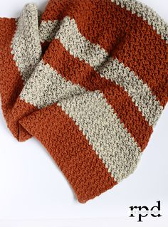 PUMPKIN  BLANKET (Pattern w/o stripes) Ch 103 Row 1: Start in 3rd ch from hook *{1 sc, 1 dc} (cluster) sk 1 ch, repeat from * across, end with 1 dc in last ch. Row 2-72:  ch 3, start in ch space (the ch you sk) from previous row, rep from *, end with last st in top of turning ch. Finishing: Fasten off. Weave in loose ends w/ yarn needle.