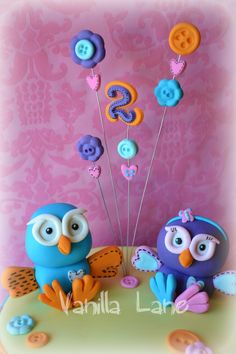Children's Birthday Cakes - Hoot and Hootabelle. Fondant Toppers, Fondant Molds, Pretty Cakes, Cute Cakes, 2nd Birthday, Birthday Cakes, Birthday Ideas, Owl Cakes, Party Finger Foods