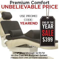 Crescent Products 2014 Year End Sale on Bodyrest System is HUGE.