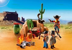 KNOX - Outlaw Hideout - PLAYMOBIL® USA In general seems to really like the Western stuff.  Likes these outlaws a lot, liked the soldier's, commented on the sheriff's office, etc