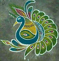 கோலம் Rangoli Designs Flower, Colorful Rangoli Designs, Rangoli Designs Diwali, Kolam Rangoli, Beautiful Rangoli Designs, Mehandi Designs, Peacock Rangoli, Peacock Art, Rangoli Borders