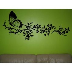 Flying butterfly and flower as large wall art sticker for living room. Butterfly Wall Stickers, Large Wall Art, Art Decor, Home Decor, Wall Decals, Butterflies, Living Room, Decoration Home, Room Decor