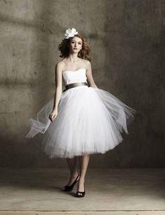 tea length a line wedding dresses