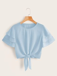 Shop Layered Sleeve Knot Hem Solid Blouse at ROMWE, discover more fashion styles online. Girls Fashion Clothes, Teen Fashion Outfits, Look Fashion, Girl Fashion, Lolita Fashion, Fashion Dresses, Crop Top Outfits, Cute Casual Outfits, Pretty Outfits