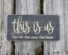 The this is us sign has been stained ebony and is lightly distressed and sealed with matte finish polyurethane and is made to freely stand on its own or hang on the wall. The sign is made to last from white pine with the words v carved into the wood. This sign would look great either sitting