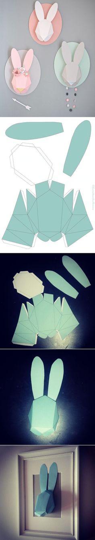 DIY geometric bunny heads