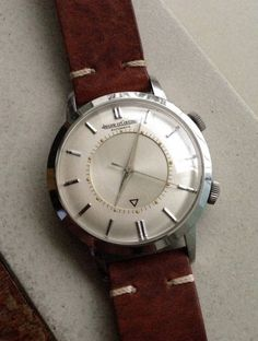 Brilliant Vintage Jaeger LeCoultre Memovox Alarm Dress Watch In Stainless Steel