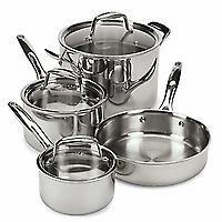 "Pampered Chef 7-Piece Set — $495.00   Exceed your expectations! This versatile set includes an 8-qt. Covered Stockpot, 3-qt. Covered Saucepan, 1.5-qt. Covered Saucepan and 10"" Skillet. The stockpot and saucepans have glass lids; the stockpot lid fits the skillet."