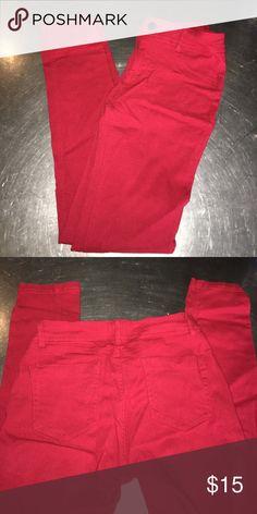 "Red jeggings 5 pocket deep red jeggings, worn 1x.  Inseam 27"" Labijou Jeans Skinny"