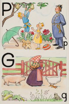 Elsa Beskow : P-prins och G-gumma - P Prince Pears G Goose and Grandmother