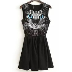 Black Blue Eye Cat Printed Sleeveless Dress ($20) ❤ liked on Polyvore featuring dresses, black, round neck sleeveless dress, ruched dress, black dress, ruching dress and blue black dress