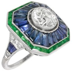 Art Deco 2.01ct Old European Diamond 1.20ct Sapphire Emerald Ring | New York Estate Jewelry | Israel Rose