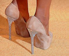 Nude Pumps with Crystal Heels.. I need these.