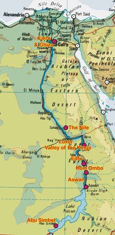 Map of Nile and the course it takes into the Mediterranean Sea.