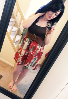 Joining a tank and a dress, good over jeans with the thrifted belt