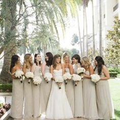 Beige bridesmaid dresses @Brandy Waterfall Busby Stringer Manor House #BMHbride