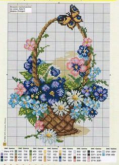 mam radost pohledu na tak krasny a vesely košiček Tiny Cross Stitch, Easy Cross Stitch Patterns, Butterfly Cross Stitch, Cross Stitch Cards, Beaded Cross Stitch, Simple Cross Stitch, Cross Stitch Samplers, Cross Stitch Flowers, Cross Stitch Designs