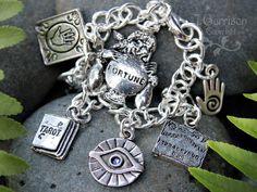 Fortune teller charm bracelet -psychic, palm reader, tarot - chunky chain