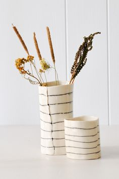 """Decorate for Fall: Dried summer wild flowers in KOROMIKO's handmade """"Tall Striped Cup"""" from BTW ceramics in New York."""