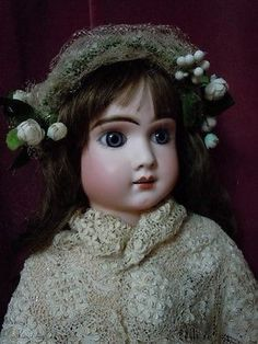 Marvelous antique garland Headdress for german french bisque doll