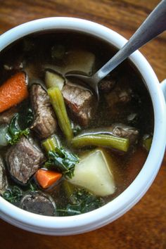 Beef Vegetable Soup with Kale