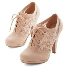 Numerous Occasions Heel in Cream ❤ liked on Polyvore featuring shoes, pumps, laced up shoes, cream shoes, platform shoes, platform lace up shoes and lace up shoes