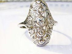 Antique Art Deco Engagement Ring Old Mine Cut Diamond Platinum Filigree Ring 0.50ctw Diamond Navette Wedding Ring