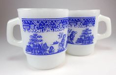 Anchor Hocking Fire King Blue Willow Coffee Mugs, Set of Two, Asian Decor