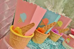Cool favors at an ice cream birthday party! See more party planning ideas at CatchMyParty.com!