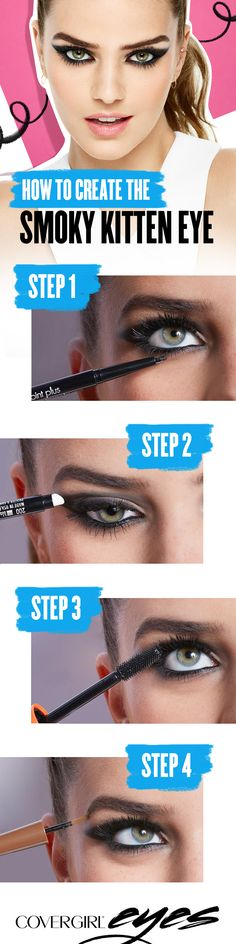 Try a cool, smokier alternative to the traditional cat eye — Create the perfect kitten eye using these 4 easy steps. Step 1: Start with COVERGIRL Perfect Point Plus Eyeliner. Step 2: Smudge with sponge tip to smoke it out. Step 3: Load up your lashes and create instant volume using COVERGIRL LashBlast Mascara. Step 4: Then, add a pow to your brow using COVERGIRL Pow-Der Brow.  COVERGIRL is the simple way to Draw Attention to your eyes.