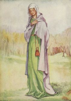 """20th cent. interpretation of a woman of the time of Henry III (1216-1272). Scan from """"English Costume"""" (Calthrop). """"This will show how very slight were the changes in woman's dress; a plain cloak, a plain gown, and a wimple over the head."""""""