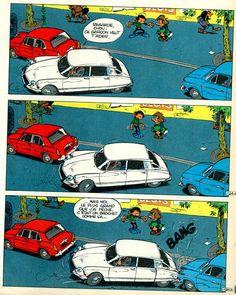 """Citroën Ds et bande dessinée Franquin  #CitroenDS """"One should never crash a DS, even in comics!"""" KB"""