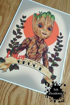 Baby Groot print inspired by Guardians Of The Galxy Vol 2 Marvel Drawings, Art Drawings, Baby Groot Tattoo, Baby Groot Drawing, Gaurdians Of The Galaxy, Dibujos Tattoo, Marvel Tattoos, Copic Sketch Markers, Marvel Art