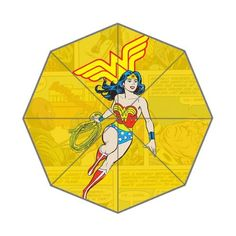 wonder woman pattern Custom Foldable Rain Umbrella Wind Resistant Windproof Floding Travel Umbrella by Hertanercase * Continue to the product at the image link.