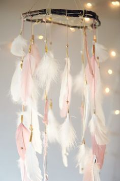 """Dreamcatcher Mobile """"Pink and White"""" by DreamkeepersLLC on Etsy https://www.etsy.com/uk/listing/217830068/dreamcatcher-mobile-pink-and-white"""