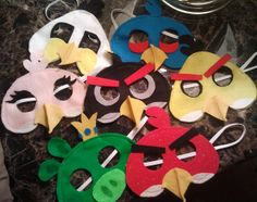 DIY Felt angry bird masks with patterns