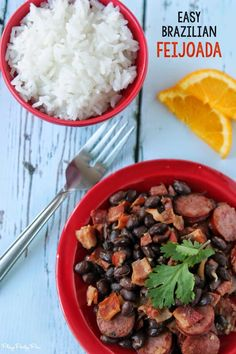Bacon, sausage, black beans, and rice make this Brazilian feijoada the perfect comfort food, recipe from playpartypin.com #successrice #ad