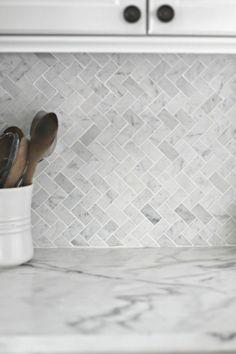 gray and white herringbone backsplash - kitchen decor ideas - home interior design