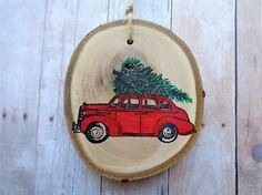 Rustic Christmas Ornament Woodland Tree Branch Slice Country