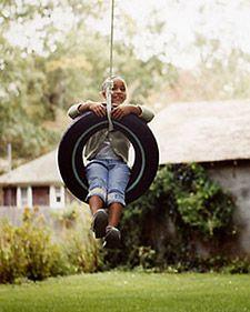 Hang a tire swing in the backyard