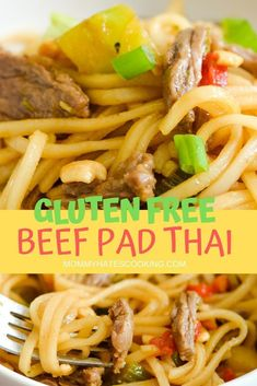 Make a great dinner with this Easy Beef Pad Thai. This pad thai recipe can also be made gluten-free and uses skirt steak. It's the perfect recipe for the whole family or for an at-home date night. Thai Recipes, Easy Dinner Recipes, Beef Recipes, Easy Meals, Lunch Recipes, Gluten Free Soy Sauce, Gluten Free Rice, Gluten Free Recipes