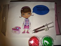 Have you had your shots? (Doc non-alcoholic Jell-O shots & ink pens that mimic needles)