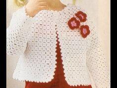 Bolero Croche Infantil manga - Crochet Bolero very easy - Ganchillo Bolero - Crochet Slippers Crochet Cardigan Pattern, Crochet Shirt, Crochet Jacket, Crochet Patterns, Crochet Girls, Crochet For Kids, Diy Crochet, Knitting For Kids, Baby Knitting