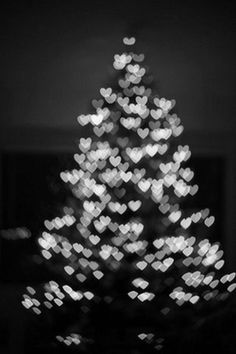 christmas tree in black and white