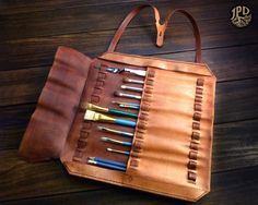 Leather Brush Roll / Handcrafted Artist's Kit / Artisan by JPDco