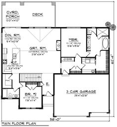 Ranch Style House Plan - 2 Beds 2 Baths 1904 Sq/Ft Plan #70-1270 Floor Plan - Main Floor Plan - Houseplans.com
